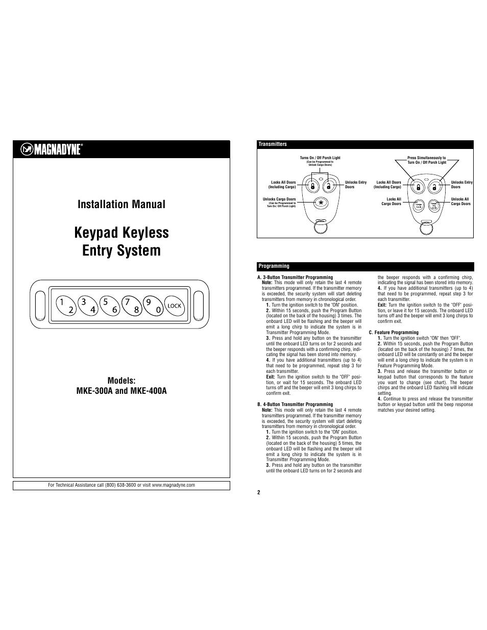 Magnadyne Keypad Keyless Entry System MKE-400A User Manual