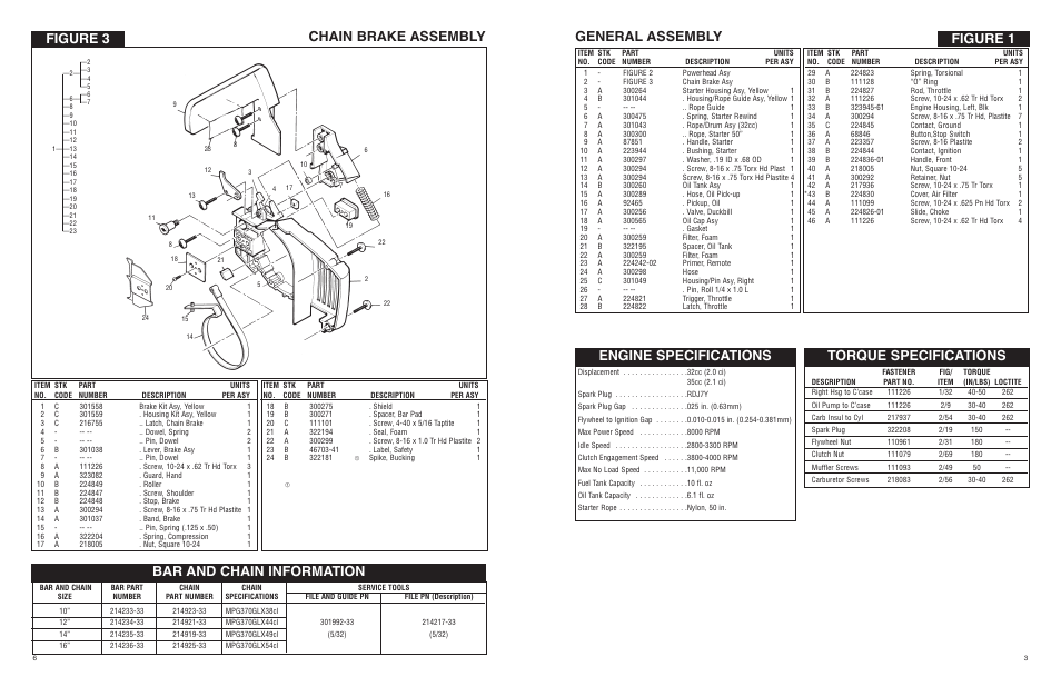 Figure 1 general assembly, Engine specifications, Torque