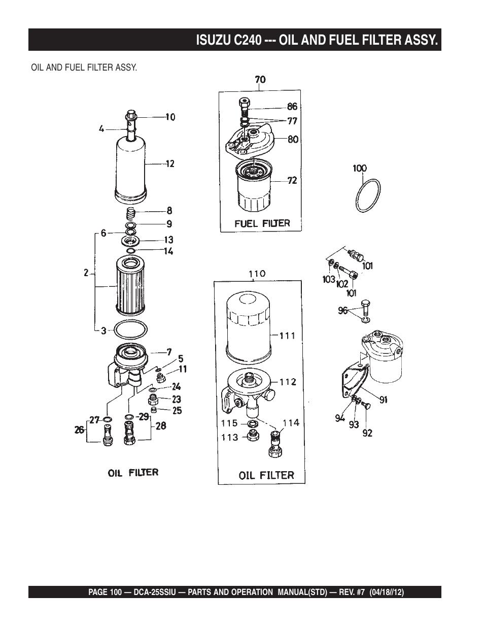 hight resolution of isuzu c240 oil and fuel filter assy multiquip wisperwatt generator dca25ssiu user manual page 100 142