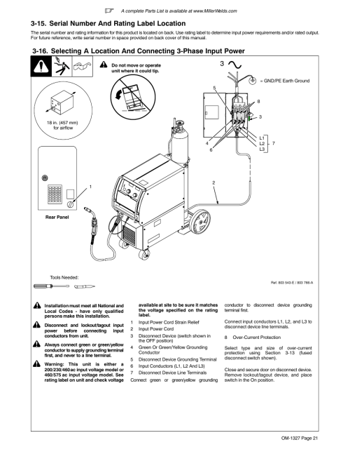 small resolution of 15 serial number and rating label location miller electric millermatic 350p user manual