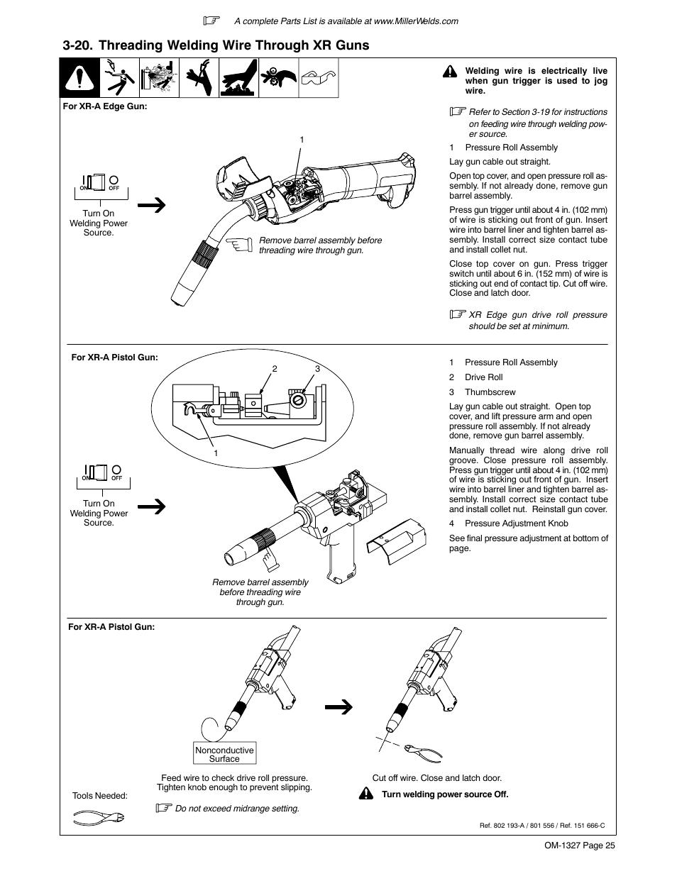 medium resolution of 20 threading welding wire through xr guns miller electric millermatic 350p user manual