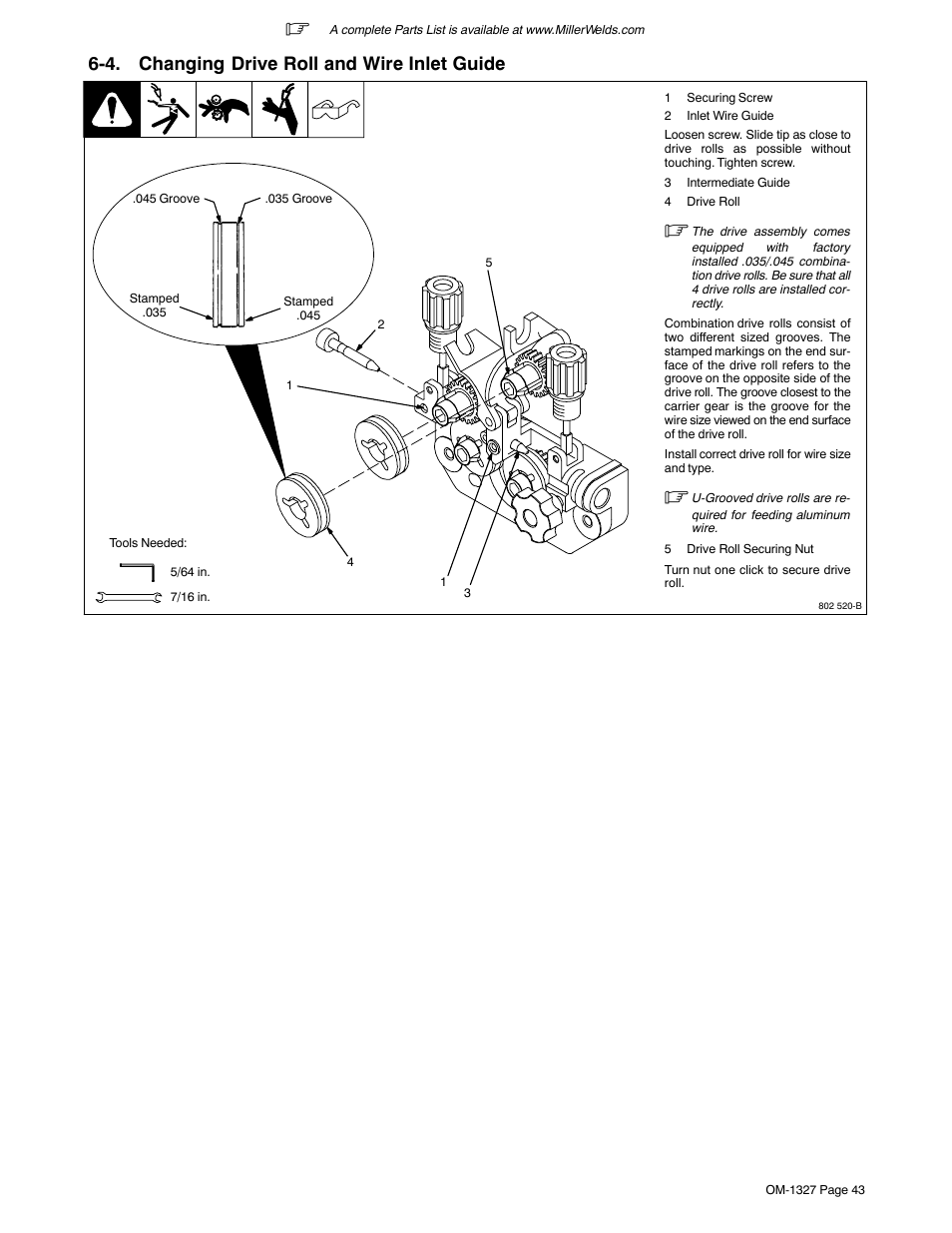 medium resolution of 4 changing drive roll and wire inlet guide miller electric millermatic 350p user manual page 47 56