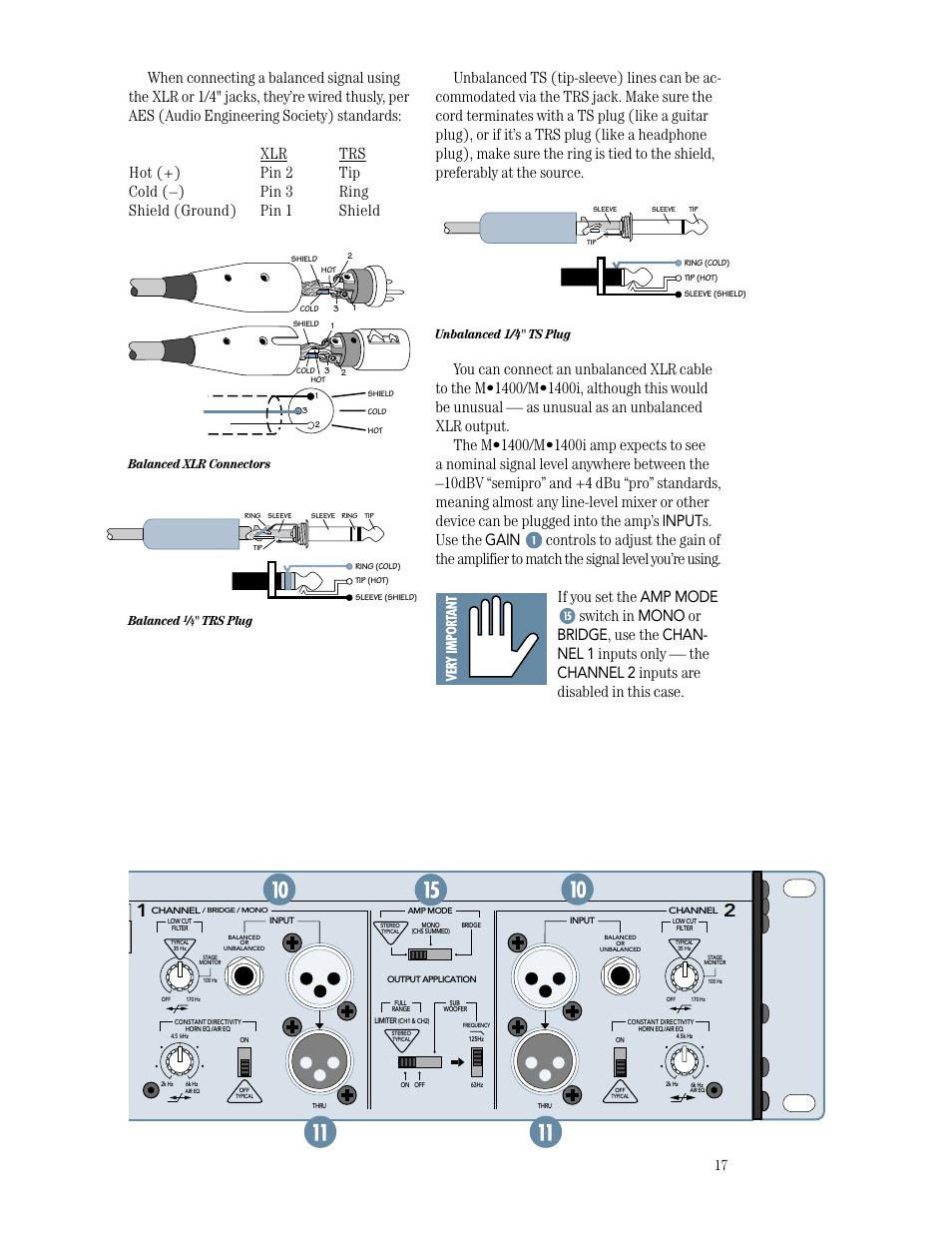 medium resolution of speaker outputs unbalanced 1 4 ts plug balanced xlr connectors balanced
