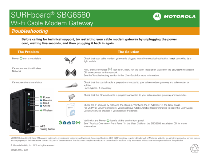 Surfboard Sbg6580 Wi Fi Cable Modem Gateway Motorola