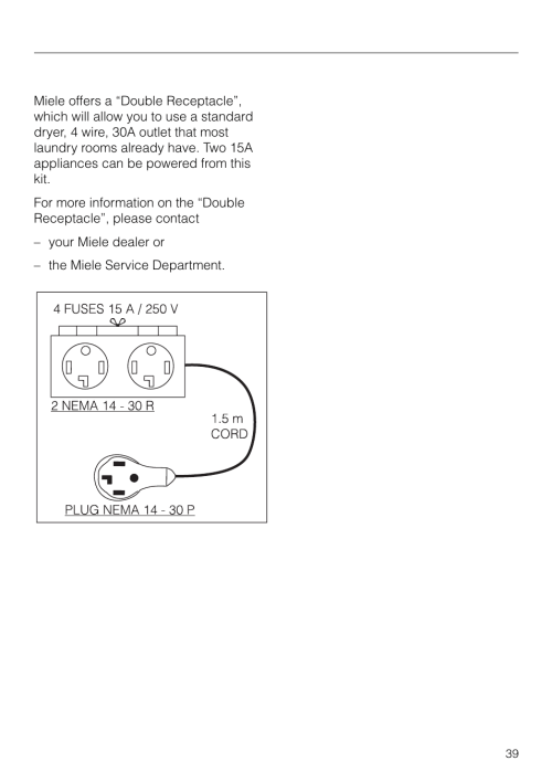 small resolution of grounding instructions and electrical connection double receptacle miele novotronic w 1903 user manual page 39 44