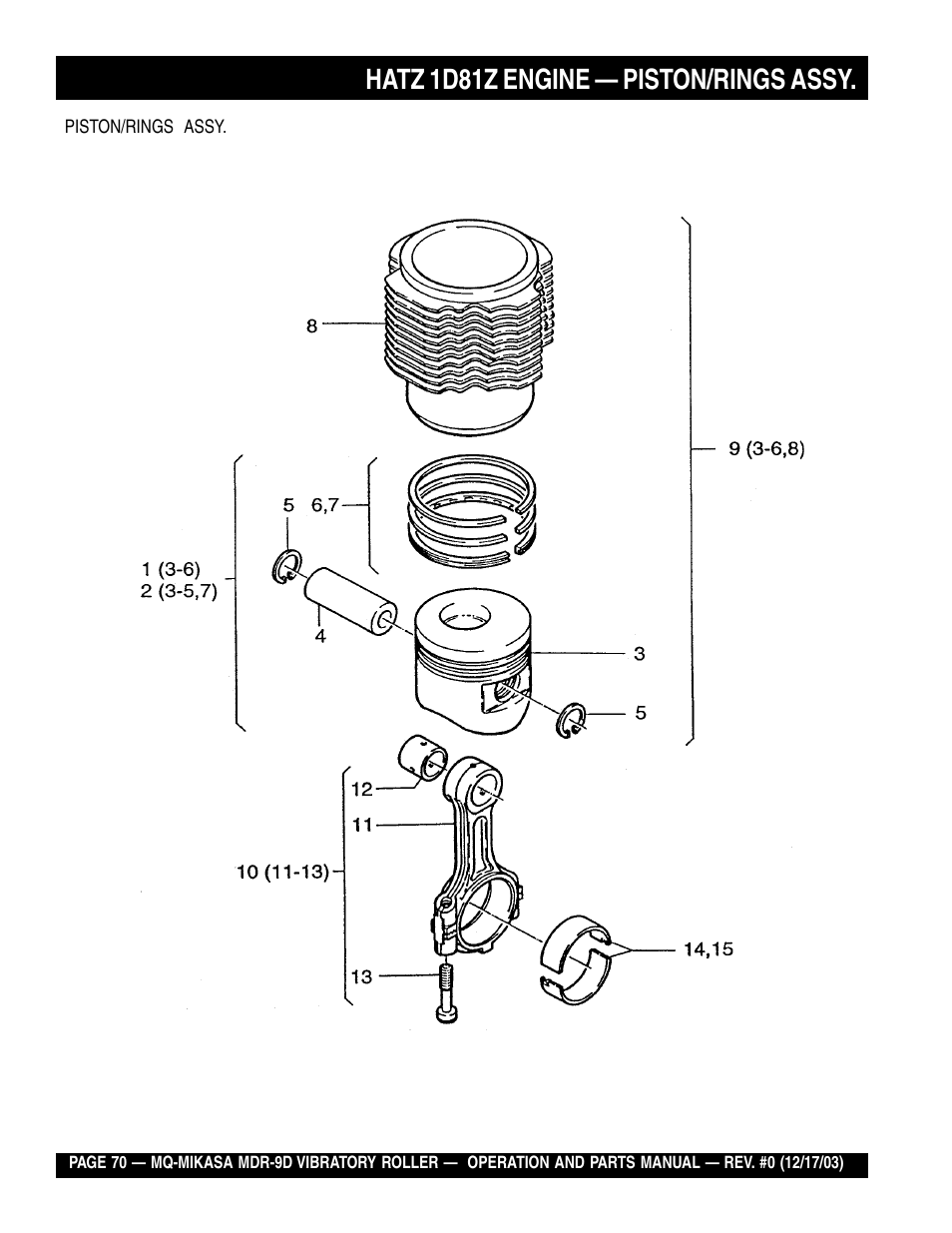 medium resolution of hatz 1d81z engine piston rings assy multiquip mikasa vibratory walk behind roller mdr 9d user manual page 70 104