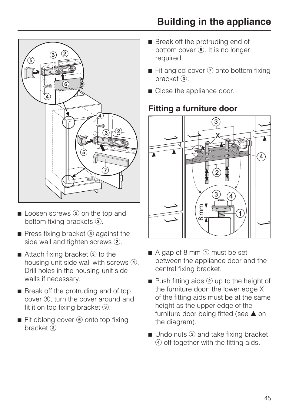 Fitting a furniture door 45, Building in the appliance