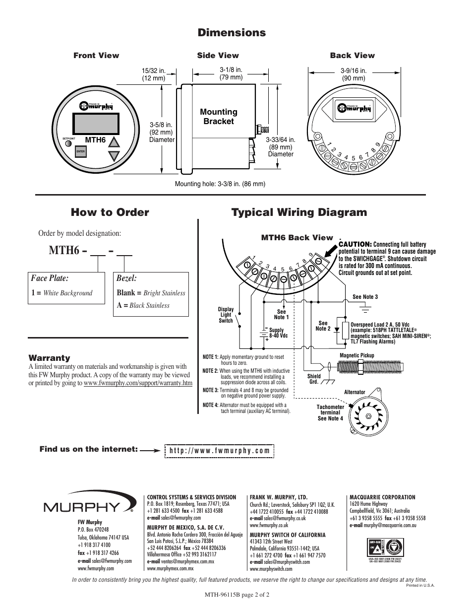 hight resolution of mth6 typical wiring diagram how to order dimensions murphy mth6 murphy switch wiring diagrams