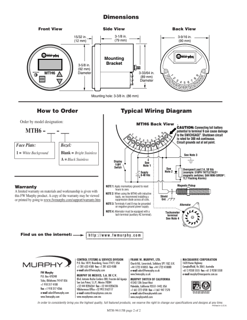 small resolution of mth6 typical wiring diagram how to order dimensions murphy mth6 murphy switch wiring diagrams