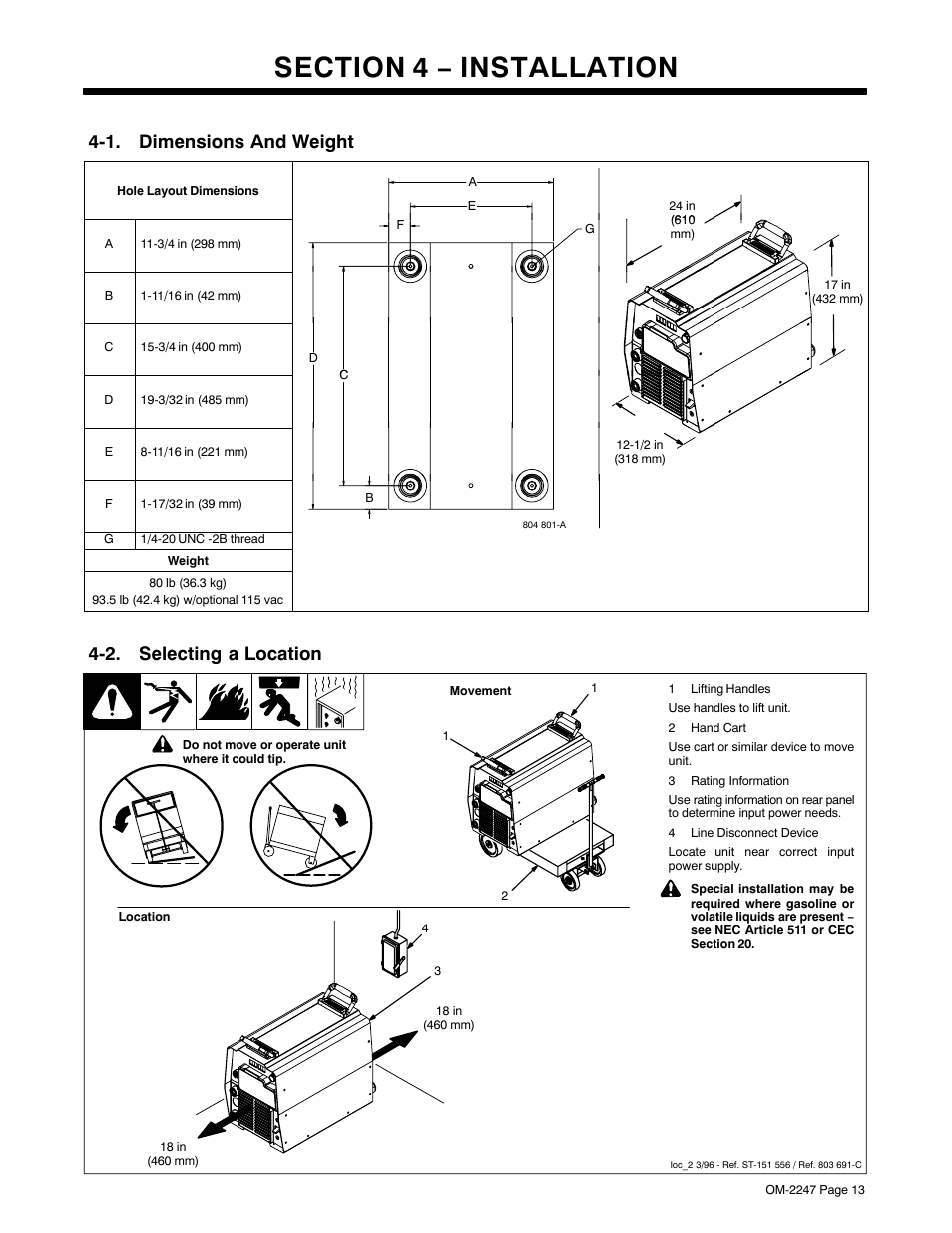 Section 4 − installation, 1. dimensions and weight, 2