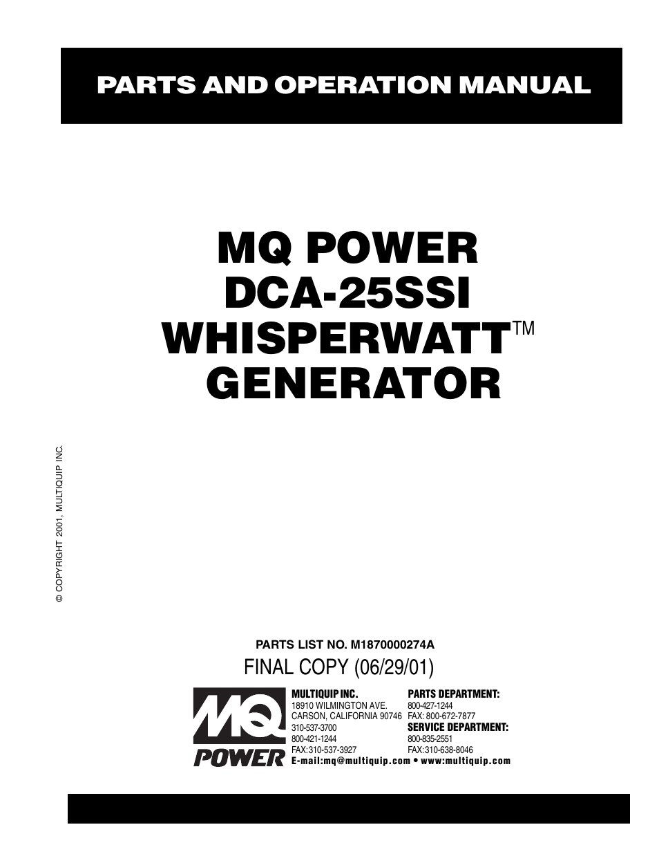 Multiquip MQ Power Whisperwatt Generator DCA-25SSI User
