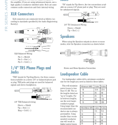 appendix b connections math and stuff 1 4 ts phone plugs and jacks speakons mackie fr1400 user manual page 14 20 [ 954 x 1350 Pixel ]