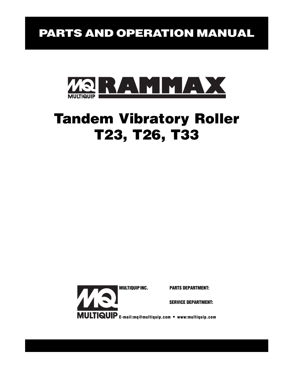 Multiquip Rammax Tandem Vibratory Roller T23 User Manual
