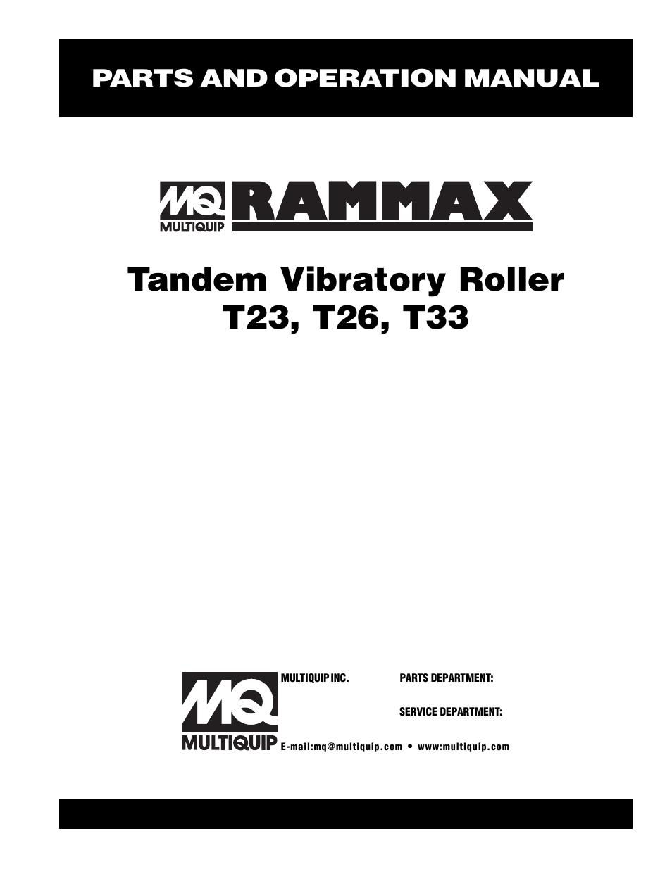 Multiquip Rammax Tandem Vibratory Roller T23 User Manual