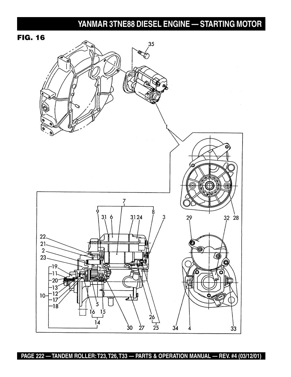 medium resolution of yanmar 3tne88 diesel engine starting motor multiquip rammax tandem vibratory roller t23 user manual