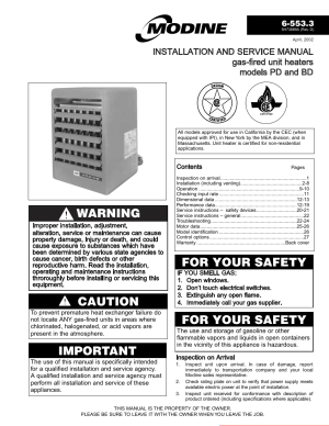 Modine Manufacturing GASFIRED HEATERS BD User Manual | 28