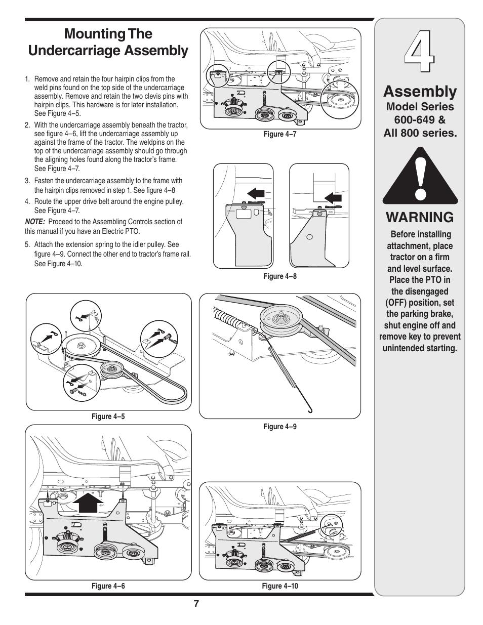 medium resolution of  array assembly warning mounting the undercarriage assembly mtd 190 032 rh manualsdir com