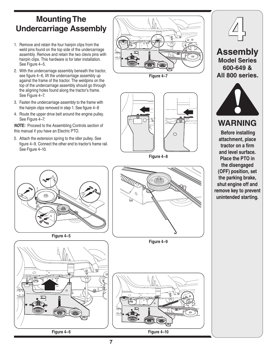 hight resolution of  array assembly warning mounting the undercarriage assembly mtd 190 032 rh manualsdir com