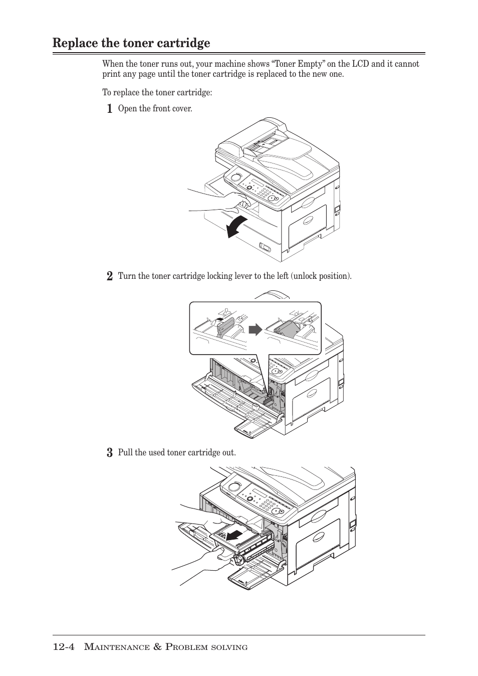 hight resolution of replace the toner cartridge replace the toner cartridge 4 muratec mfx 1950 user manual page 168 198