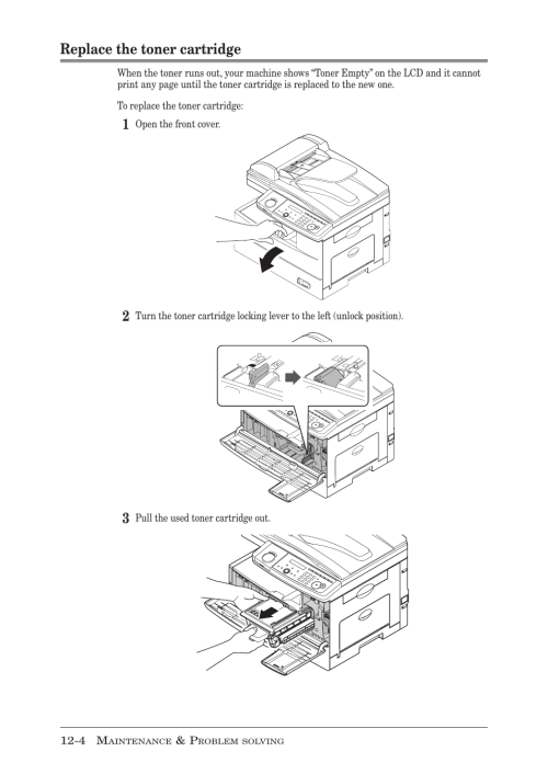 small resolution of replace the toner cartridge replace the toner cartridge 4 muratec mfx 1950 user manual page 168 198