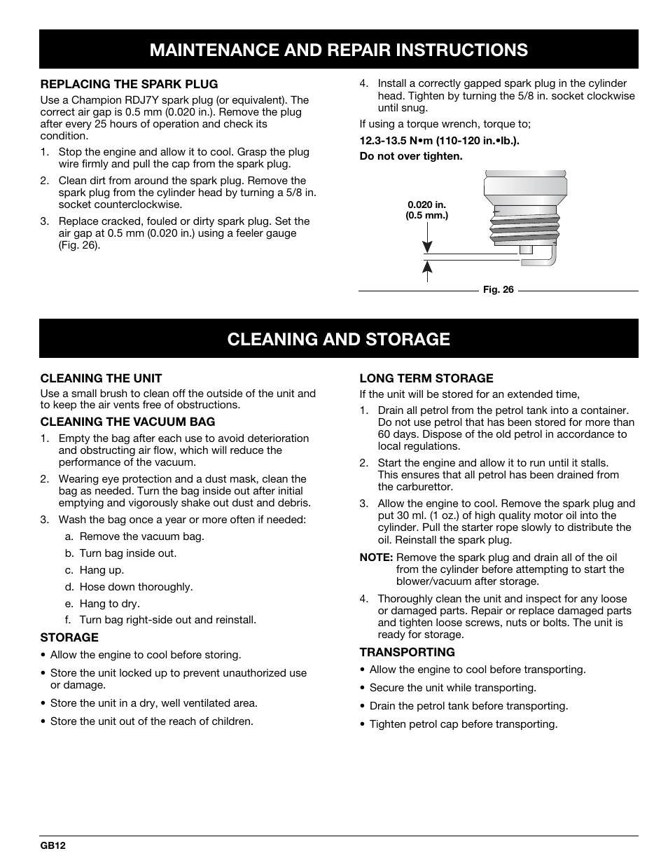 Maintenance and repair instructions, Cleaning and storage