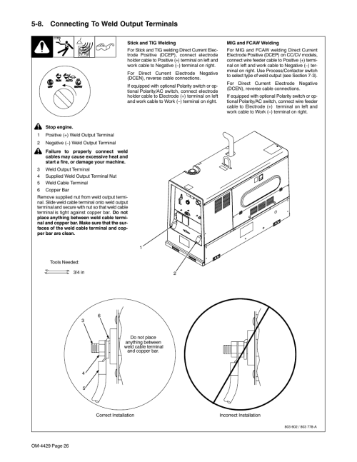 small resolution of 8 connecting to weld output terminals miller electric big blue 500 pt user manual page 30 90