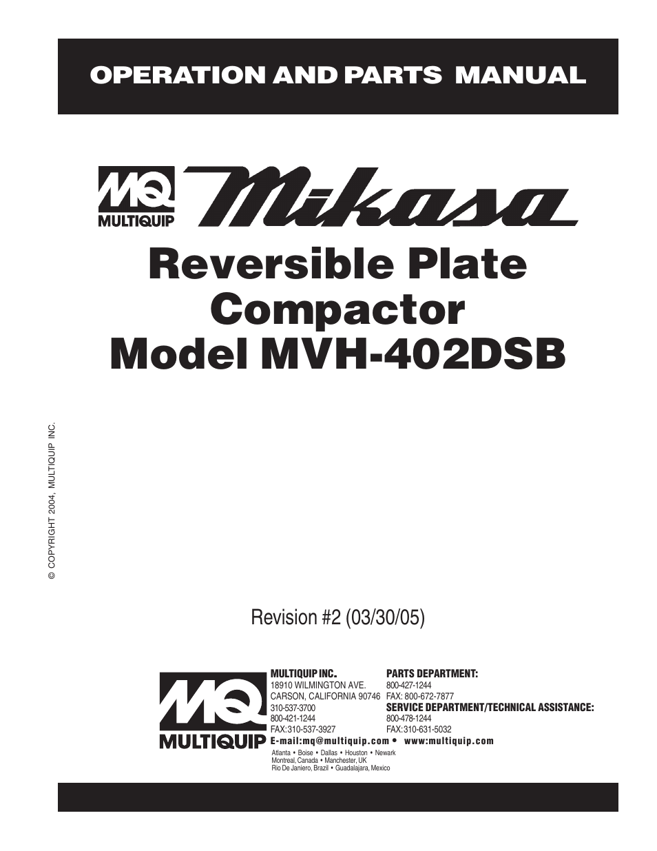 Multiquip Mikasa Reversible Plate Compactor MVH-402DSB