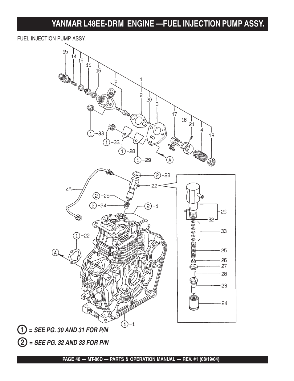 Yanmar l48ee-drm engine —fuel injection pump assy