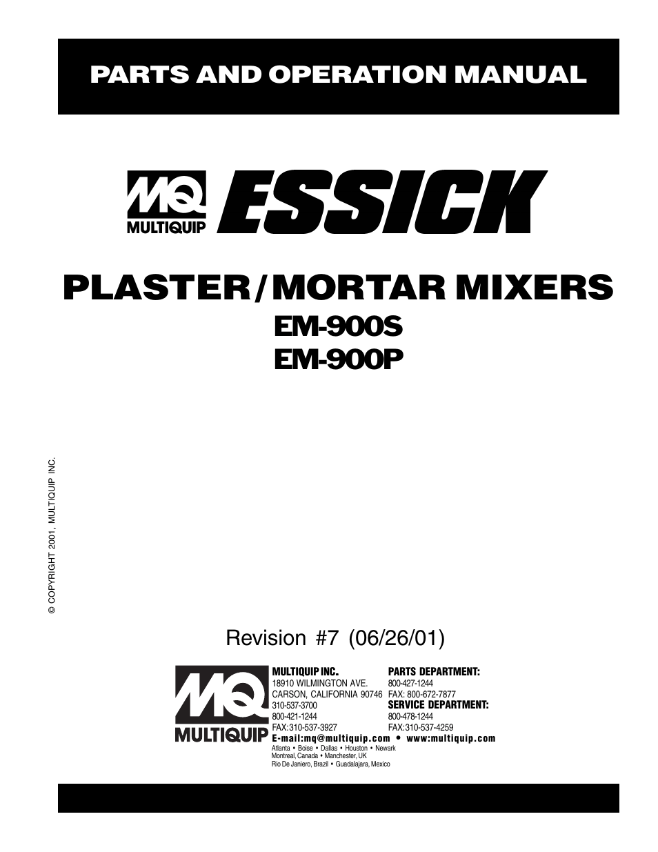 Multiquip ESSICK PLASTER/MORTAR MIXERS EM-900S User Manual