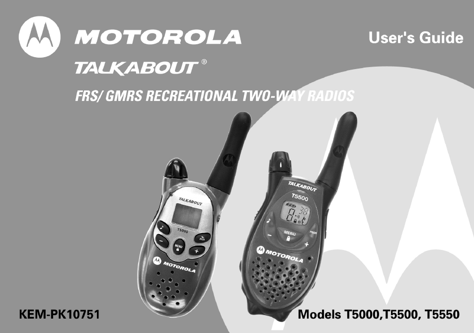 Motorola T5500 User Manual  35 pages  Also for T5550 walkie talkie