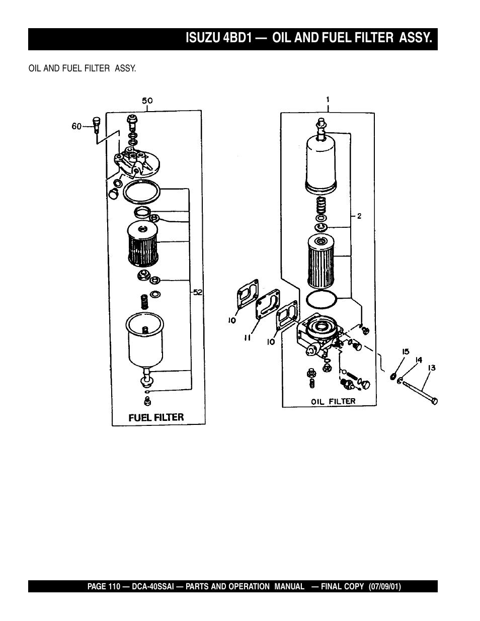 hight resolution of isuzu 4bd1 oil and fuel filter assy multiquip mq power whisperwatttm generator dca 40ssai user manual page 110 140