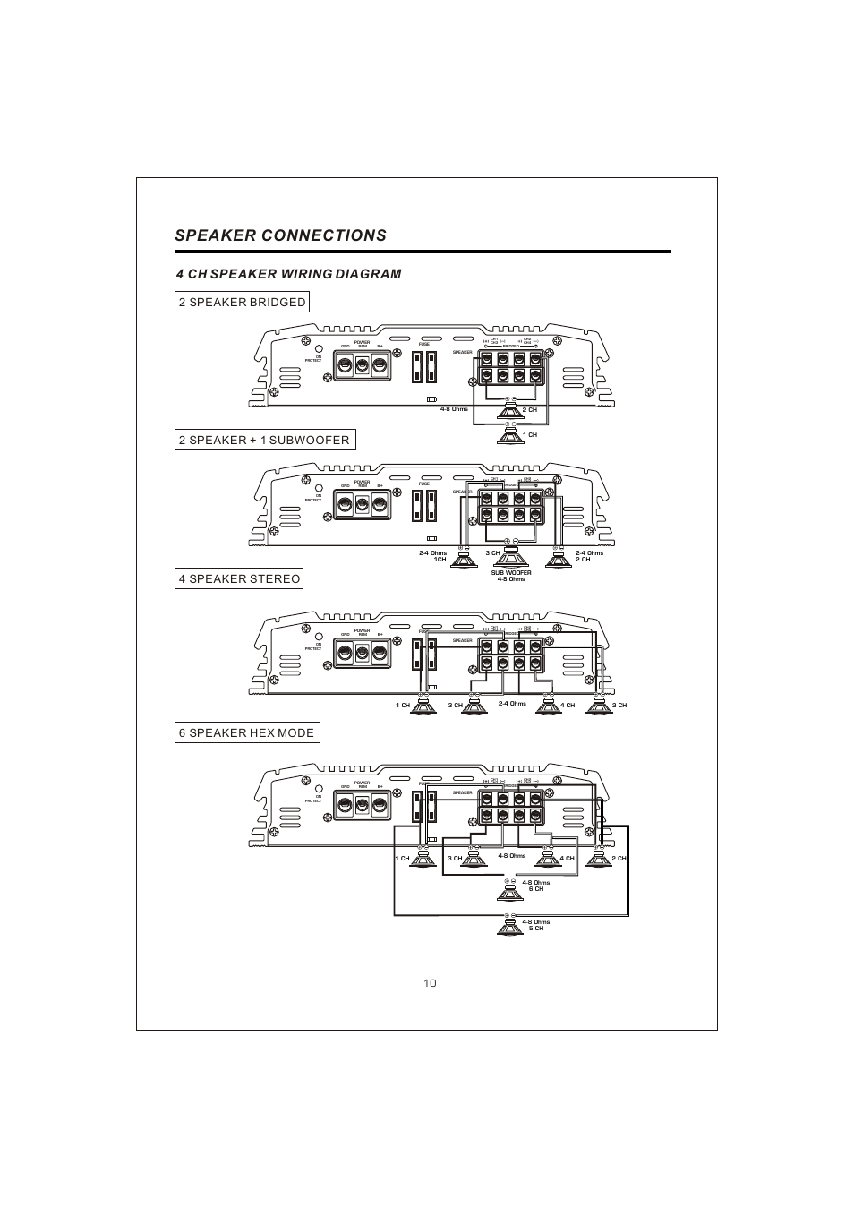medium resolution of  12 speaker connections 4 ch speaker wiring diagram interfire audio tunn t 2130 user manual page 12 20