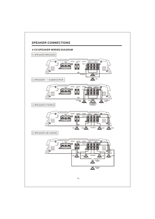 small resolution of  12 speaker connections 4 ch speaker wiring diagram interfire audio tunn t 2130 user manual page 12 20