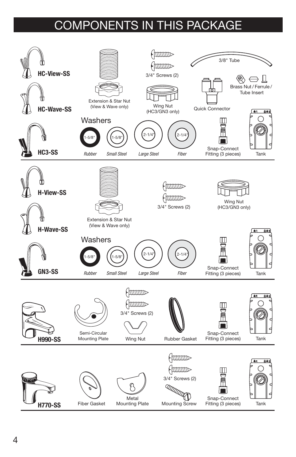 Components in this package, Washers, H770-ss