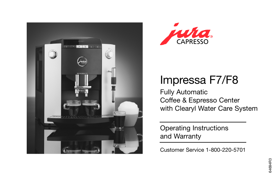 Jura Capresso IMPRESSA F7F8 User Manual  24 pages  Also for IMPRESSA F8