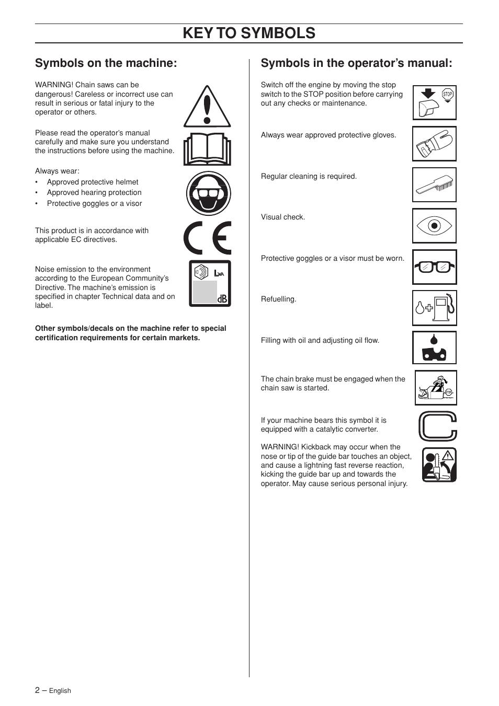 Symbols on the machine, Symbols in the operator's manual