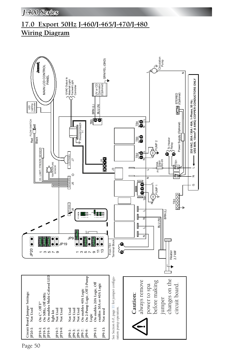 Export 50hz j-460/j-465/j-470/j-480 wiring diagram, Page