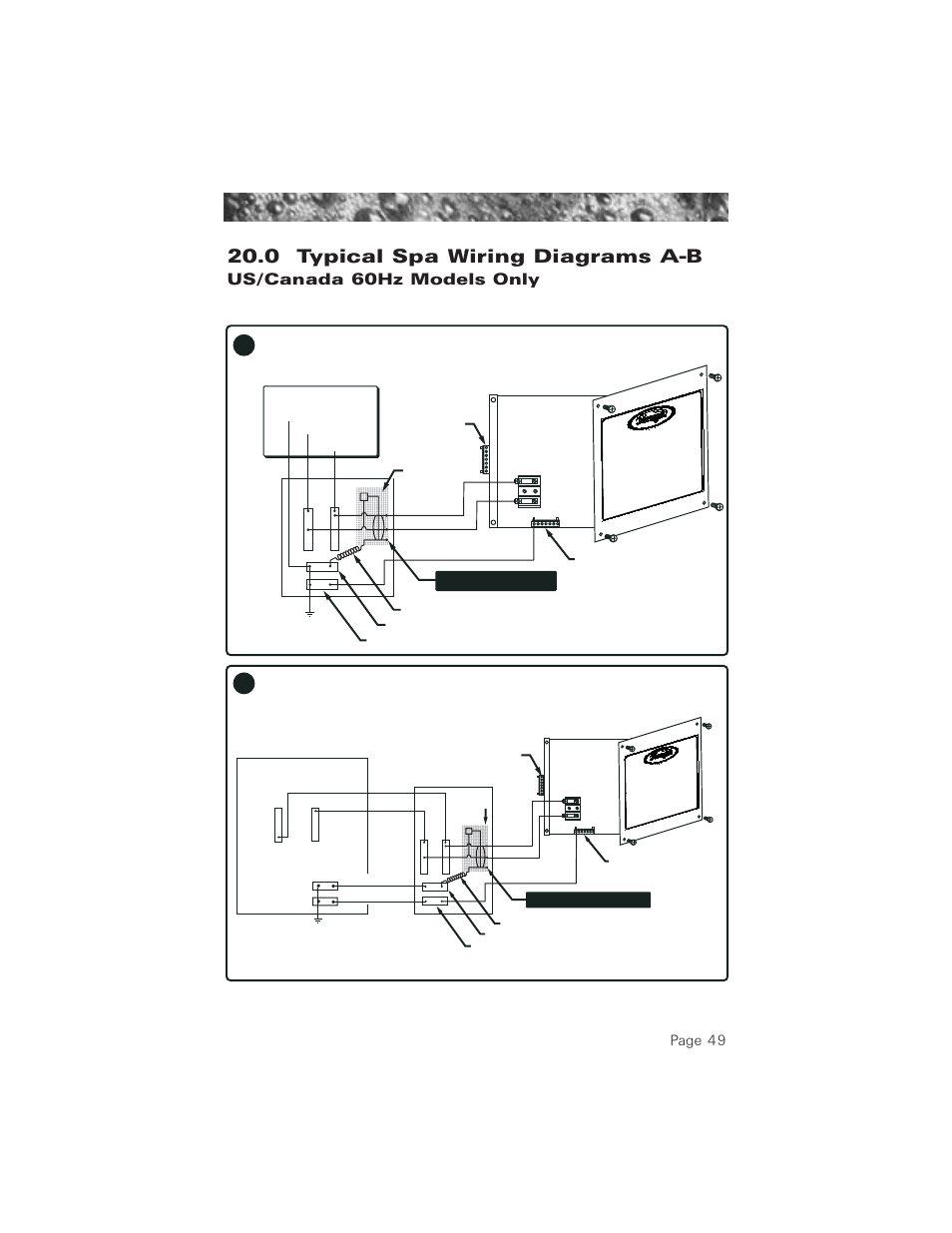 hight resolution of 0 typical spa wiring diagrams a b 60hz models 0 typical spa mix 0