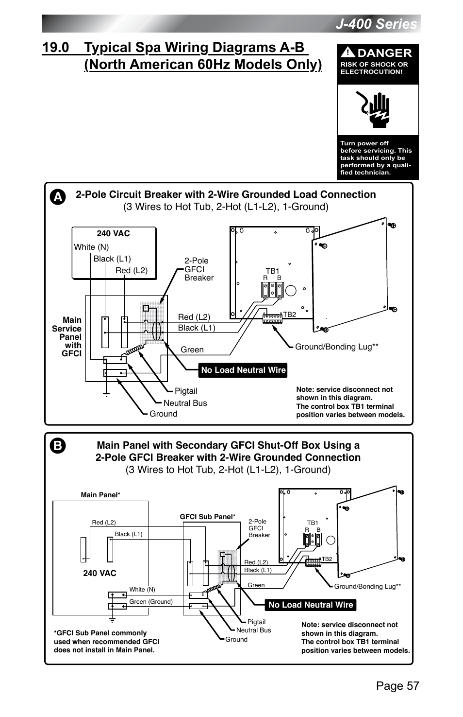 jacuzzi wiring diagram latching contactor models only), j-400 series, page 57 | j - 400 series 460 user manual 62 / 77