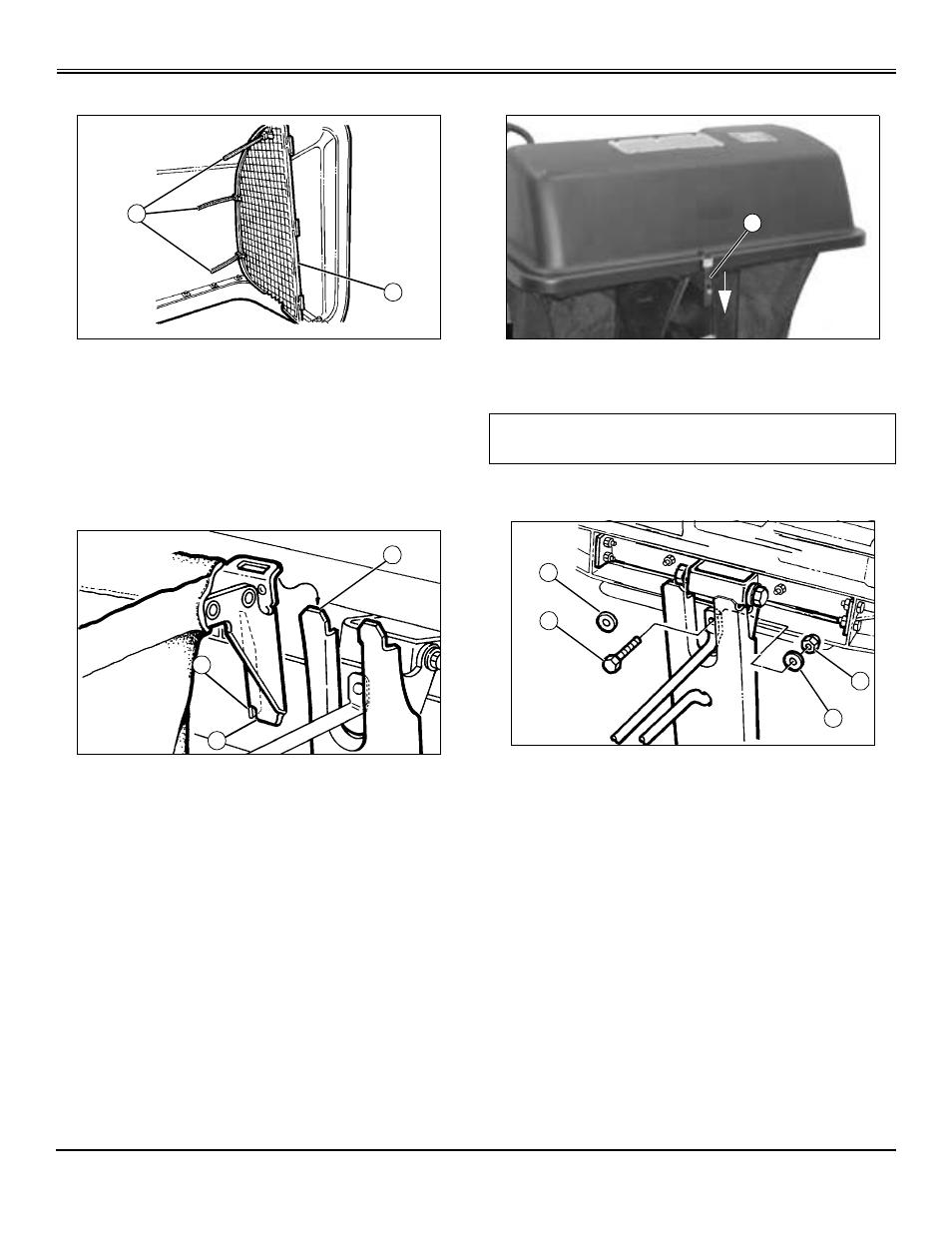 Install hopper screen, Install and adjust grass bags