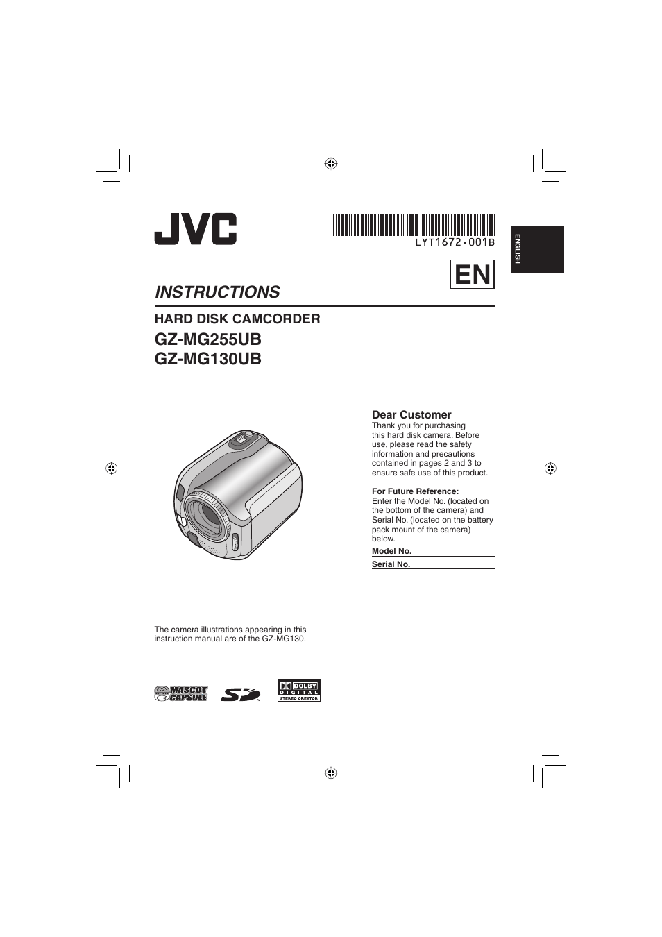 JVC EVERIO GZ MG330 USER MANUAL JVC EVERIO GZ MG335