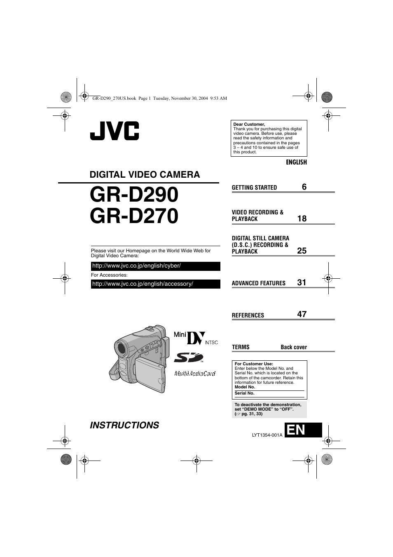 JVC GR-D290 MANUAL PDF