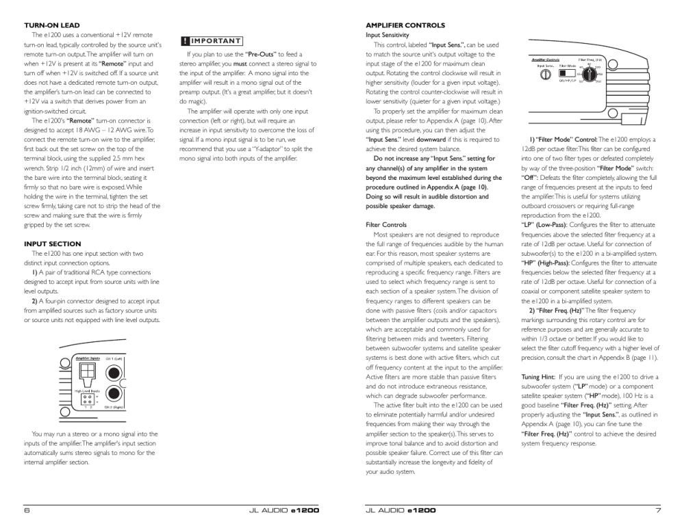medium resolution of jl audio two channel full range amplifier e2150 user manual page 4 9 also for e1200