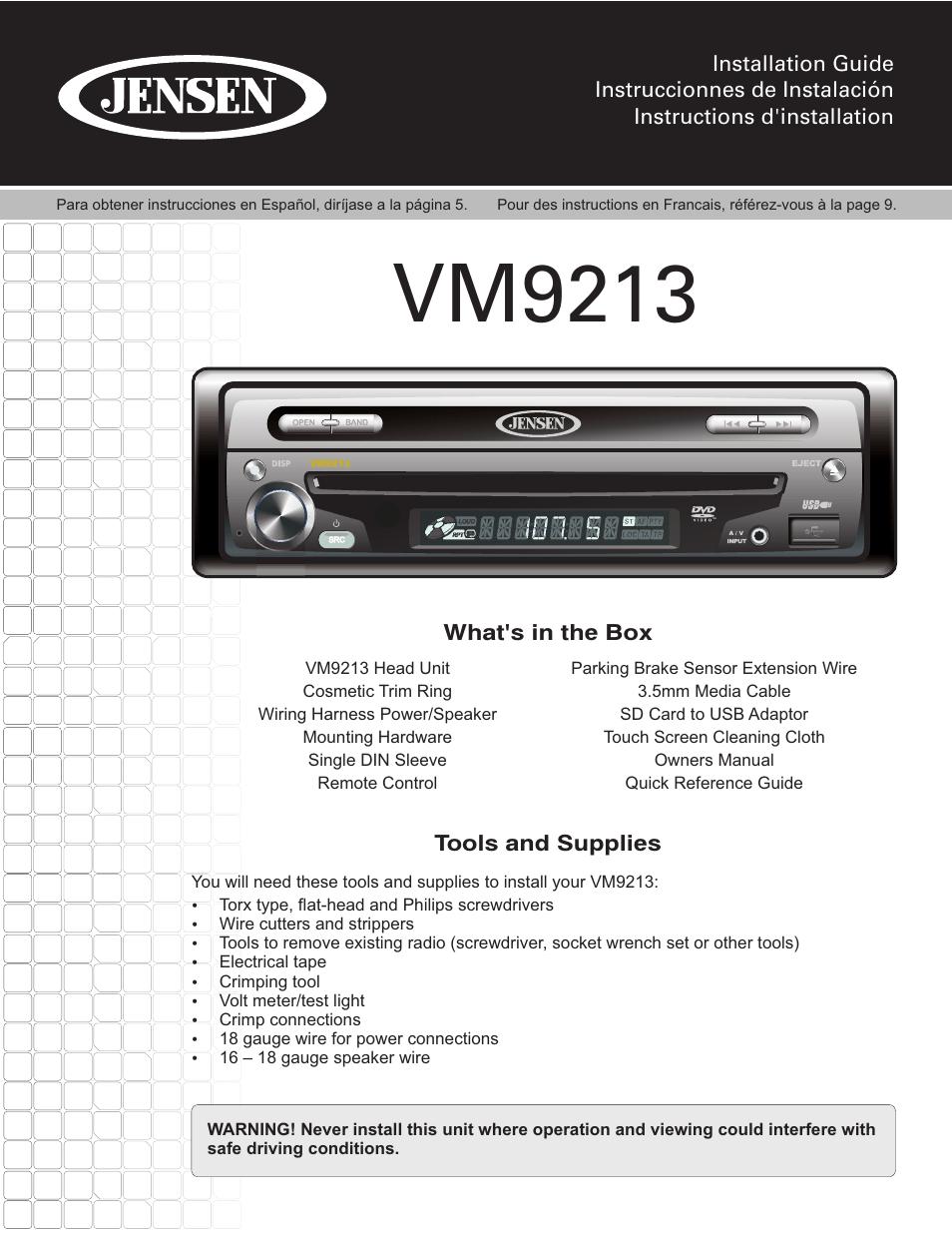 medium resolution of jensen vm9213 wiring diagram