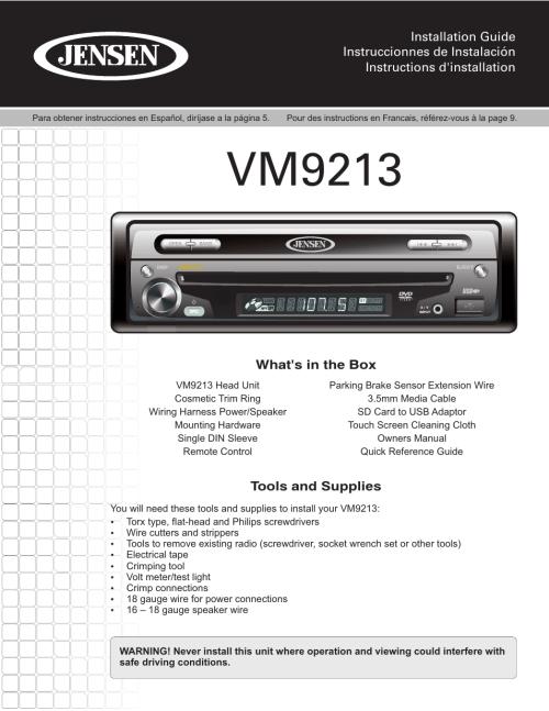 small resolution of jensen vm9213 wiring diagram