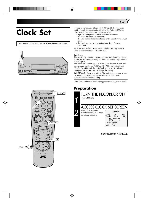 Clock set, Turn the recorder on, Access clock set screen