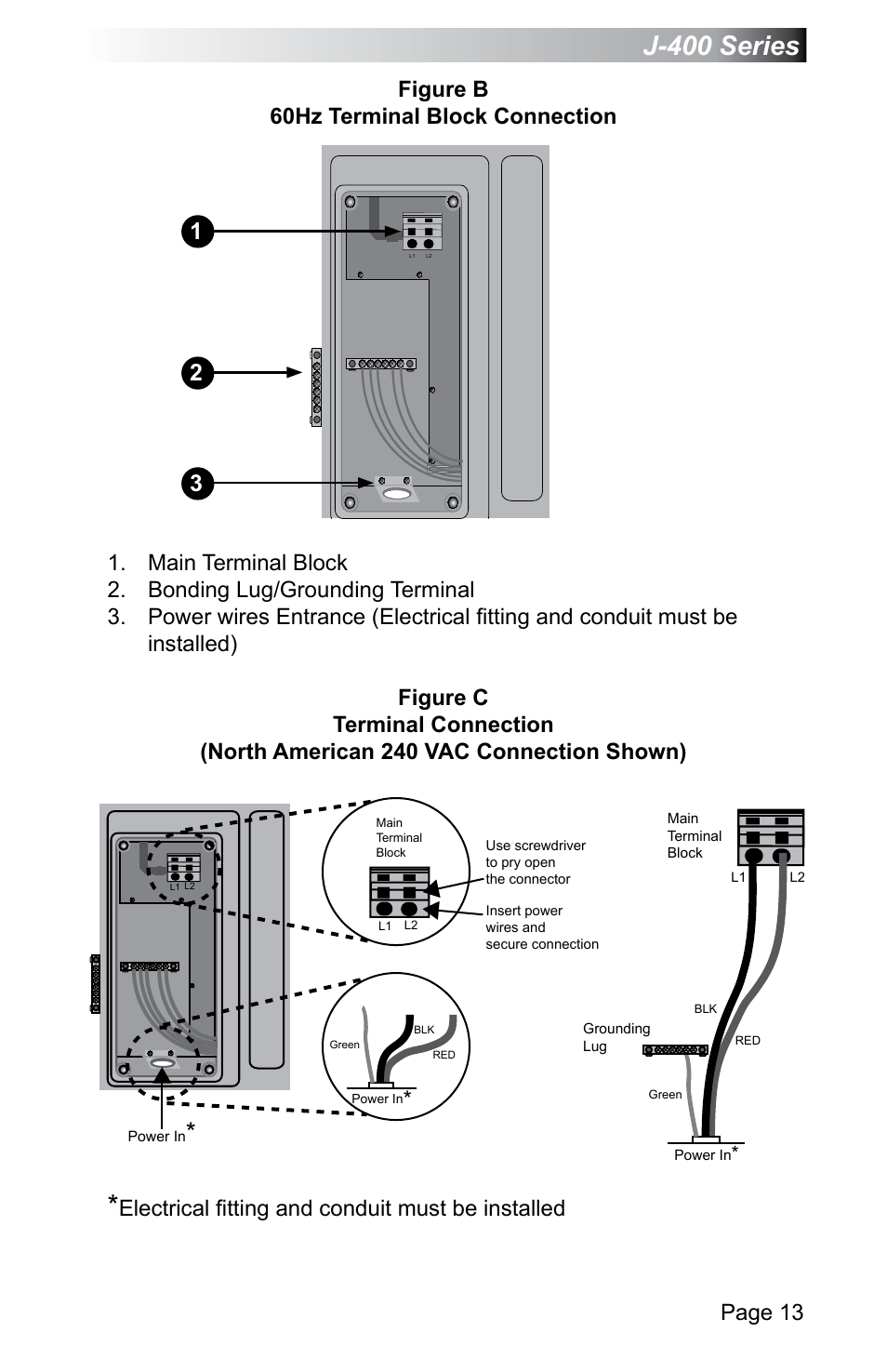 J-400 series, Page 13, Figure b 60hz terminal block
