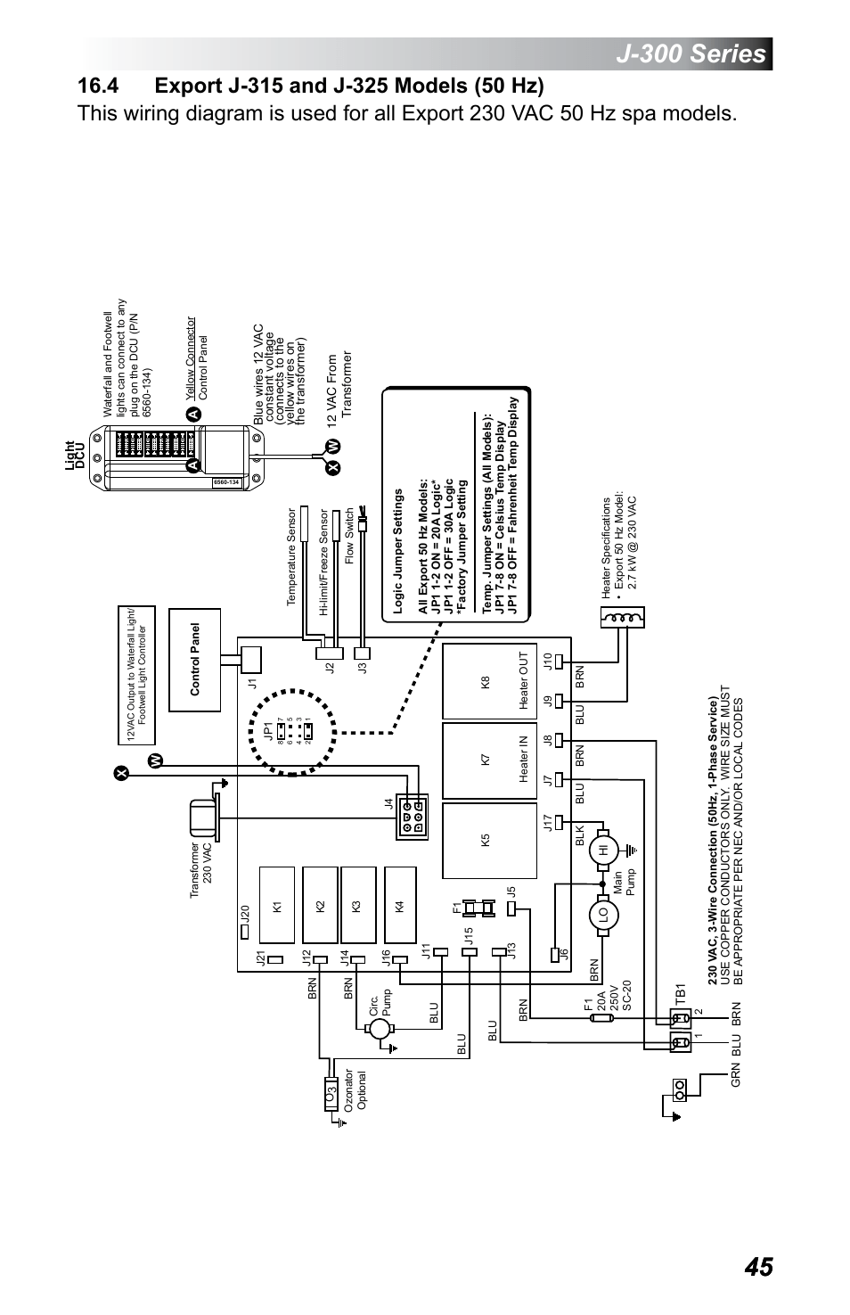 jacuzzi j 365 wiring diagram allis chalmers b 4 export 315 and 325 models 50 hz 300 series 355 user manual page 49 68