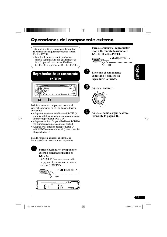 Operaciones del componente externo, Reproducción de un