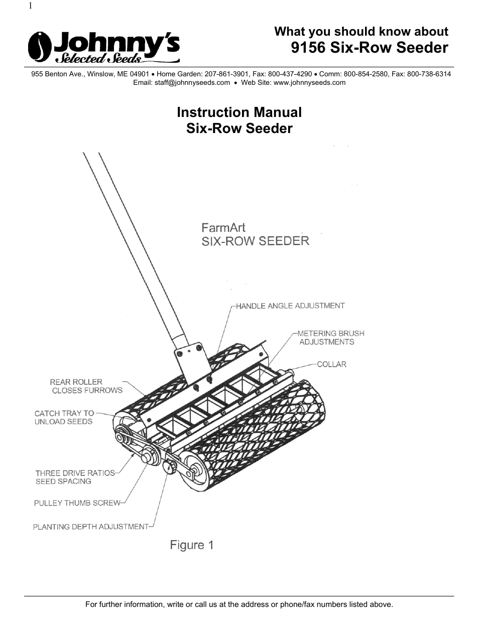 Johnny's Selected Seeds SIX-ROW SEEDER 9156 User Manual